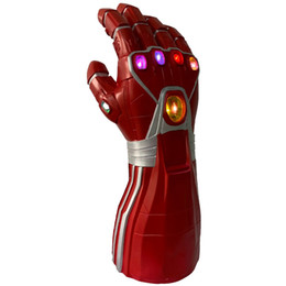 Discount iron man mask adult - : Endgame Iron Man Latex LED Light gloves Halloween Costume Party Adult Children current Size Mask