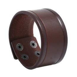 Discount wristbands style men - NIUYITID Vintage Wide Genuine Leather Bracelet Bangle For Men Black Brown Color Punk Style Wristband Male Jewelry Drop s