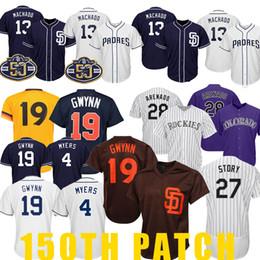 3eeea76f San 19 Tony Gwynn Diego jersey Padres 4 Wil Meyers 13 Manny Machado Rockies  28 Nolan Arenado 27 Trevor Story Baseball Jerseys