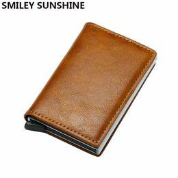 Rfid Print Australia - Top Quality Automatical Aluminium Rfid Wallet Men Money Bag Mini Purse Male Vintage Slim Card Holder Wallet Samll Smart #160115