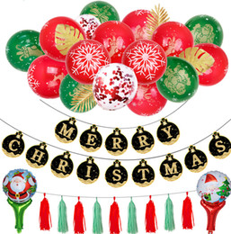 card balloons NZ - Christmas balloons 12 inch hot gold red green printing x'mas balloon black gold paper cards Christmas flag balloon decorative chain
