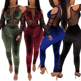 Women velvet jumpsuit online shopping - women sexy piece jumpsuits long sleeve off shoulder mesh sheer velvet patchwork bodycon playsuit backless Rompers nightclub party clothing