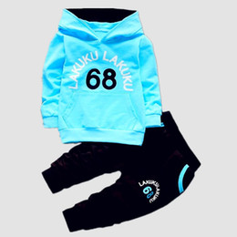 Hoodies Pants Kids Clothes Set UK - Children Tracksuit Kids Clothing Sets Baby Boys Girls Fashion Sports Suits Hoodies Sweatshirts+Pants Brand Jacket Boy