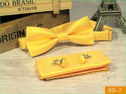 tie cufflink set yellow 2019 - SCST Brand Gravata New Pajaritas Solid Yellow Gold Silk Bow Ties For Men Match Bowtie Pocket Square And Cufflinks 3pcs S