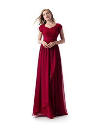 long modest prom dresses pleats UK - Simple Dark Red A-line Lace Chiffon Long Modest Prom Dress With Cap Sleeves Sweetheart Floor Length Modest Bridesmaid Dress