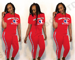 $enCountryForm.capitalKeyWord Canada - Hot Women Champions Summer Outfits Short Sleeve T-Shirt + Pants 2 Pieces Tracksuit Ladies Sportswear Sports Suit Joggers Set Sale A362