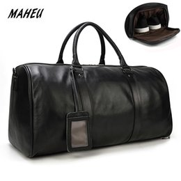 weekend bags men NZ - MAHEU Natural Cow Skin Travel Bags Waterproof Men's Leather Overnight Bags Hand Luggage Men Male Weekend Bag Business Man 55cm T200613