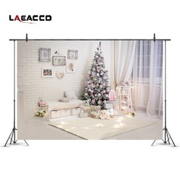 painting scenery background 2019 - Laeacco New Year Christmas Tree Interior Scenery Baby Photography Backgrounds Custom Photographic Backdrops For Photo St