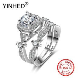Cubic Zirconia Wedding Band Sets Australia - YINHED 2pcs Princess Square Cubic Zirconia Wedding Bands Ring Set for Women 925 Sterling Silver Engagement Jewelry Ring ZR538