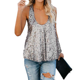 e906cab7d9c8 Wholesale Women Glitter Tank Tops Sexy Female Sequined V-Neck Camisole  Sleeveless Bling Tops for Club Party Bodycon vest Girls Spaghetti