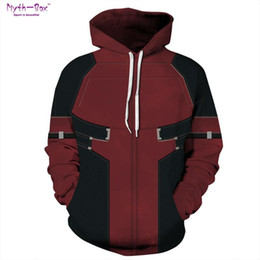 Wholesale xxxl deadpool costume for sale – halloween Women Men Sports Hoodies Deadpool Costume Athleisure Hoody Sportwear Loose Sweatshirts Long Sleeve S XXXL Running Hooded Sweater