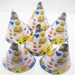 $enCountryForm.capitalKeyWord Australia - 6pcs set Cartoon Emoji Theme Party Supplies Paper Hats Caps Baby Shower Kids Birthday Party Wedding Decoration Festival Favors