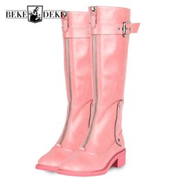Real fleece online shopping - Fashion Womens Knee High Cow Real Leather Boots Punk Zipper Winter Fleece Lining Riding Boots Block Heels Knight Martin Shoes