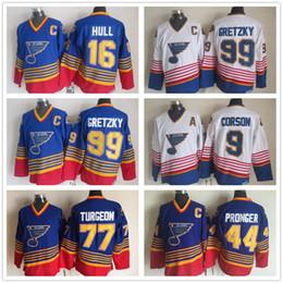 9736cdab422 St. Louis Blues Ice Hockey Jerseys 2 AL MacINNIS 9 Shayne Corson 16 Brett  Hull 99 Wayne Gretzky Throwback Vintage CCM Stitched Jerseys