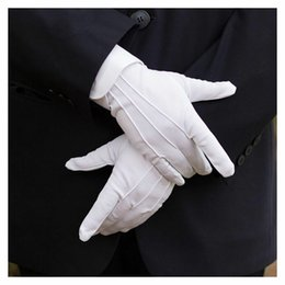 Wholesale 1pair white labor insurance cotton work elastic gloves women men thin medium thick etiquette ceremonial gloves inspection gloves