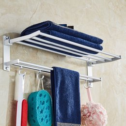 copper towel rack UK - Space Aluminum Double Towel Rack With 5 Hooks Foldable Bathroom Storage Organization