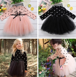 Wholesale Baby Girls Clothes Dots Princess Dresses Long Sleeve Knit Lace Tutu Dress Girls Outfits Kids Clothing Pink Black White Optional YW1972