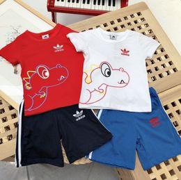 $enCountryForm.capitalKeyWord Australia - AD Summer kids clothes children suit small dinosaur printed T-shirt with shorts set simple leisure suit