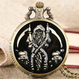 Pirate Pendants Australia - Steampunk Pocket Watch Pirate Skull Display Cover Necklace Pendant Clock Cool Fob Watch Gifts for Men Women reloj de bolsillo