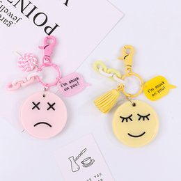 $enCountryForm.capitalKeyWord Australia - Cute Cartoon face mirror Key Chain For Women Girls Bag Pendant Figure Charms Tassel Key Chains Jewelry Porte Clef