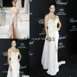elie saab jacket Australia - Adriana Lima Wear Elie Saab Prom Dress Sexy Strapless Sweetheart Side Slit Chiffon Flowy Long Celebrity Evening Special Occasion Dresses