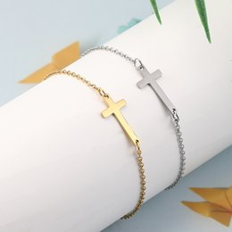 friendship plates Australia - Simple Jesus Cross Stainless Steel Charm Bracelet for Women Bohemia Silver Gold Plated Adjustable Bracelet Fashion Friendship Jewelry Gift