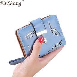 Leaf Coin Australia - 2018 Women Wallet Short purse Gold Hollow Leaves Pouch Handbag Zipper Pocket Wallets For Women Coin Purse Fashion Card Holders