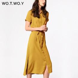 $enCountryForm.capitalKeyWord Australia - Wotwoy 2019 Sashes Summer Maxi Dresses Women Short Sleeve Button Yellow Straight Shirt Dress Woman Office Loose Elegant Dress MX190725