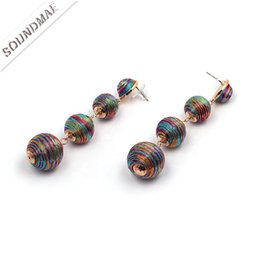 $enCountryForm.capitalKeyWord Australia - Winding Ball Earrings Handmade For Women Wending Party Tassel Jewelry Metal Colorful Round Beads Drop Earrings Accessories Dangle Chandelier