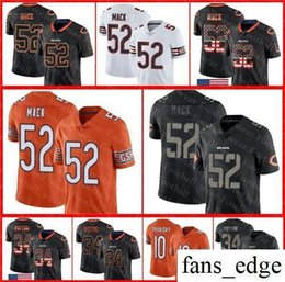 a56d2439df4 52 Khalil Mack Chicago Bears Jersey 10 Mitchell Trubisky Walter Payton 2018  USA Flag Fashion Impact Lights out Color Rush Football Jerseys