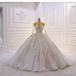 $enCountryForm.capitalKeyWord Australia - Luxury Dubai Sparkly Long Sleeves Wedding Dresses Appliques Lace Arabic Rhinestones Ball Gowns Wedding Dress Sheer Neckline Bridal Gowns