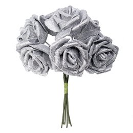 white roses bouquet purple Australia - 7 Foam Rose Artificial Flower Glitter Bridal Bouquet Home Wedding Decoration Silver color according to the picture