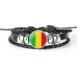 wholesale world cup football flags UK - Stylish Handmade Leather Rope Beaded Bracelet For Women Men Mali National Flag World Cup Football Fan Time Gem Glass Cabochon Button Jewelry