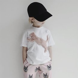 White Short Sleeve Faux Fur Australia - INS Boys cartoon T-shirt stereo faux fur cat kids white T-shirt children round collar short sleeve tees shirts 2019 kids animal clothes Y128