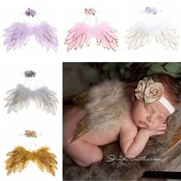 fairy photography props 2019 - Baby Angel Wing + Flower headband Photography Props Set newborn Pretty Angel Fairy colorful feathers Costume Photo headb