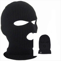 $enCountryForm.capitalKeyWord Australia - Full Face Cover 3 Holes Balaclava Knit Hat Winter Stretch Snow Mask Beanie Hat Cap Windproof Warm Breathable Masks for Riding