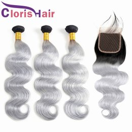 1b grey hair weave 2019 - Dark Roots Grey Ombre Human Hair Bundles With Lace Closure Body Wave Malaysian Virgin Hair Extensions Colored 1B Gray Om