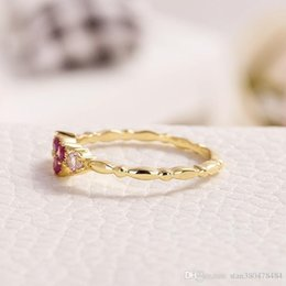 Wholesaler Red Plates Australia - Plated 14K Gold Inlaid Red Corundum Heart Shaped Ring Female Small Fresh Ornament Crown Diamond Ring High Quality Zircon Engagement Ring Ann