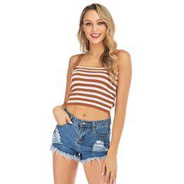 China Women Summer Vest Tank Top Slim sexy Sleeveless T Shirt striped plain Casual T-shirt Tee Beach Travel Ladies Clothes tops LJJA2362 supplier ladies vest t shirts suppliers