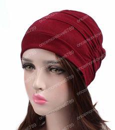 Slouchy Hats For Women Australia - New women Soft slouchy ruffle Chemo beanie Cap Sleep Turban Hat Liner for Cancer Hair Loss caps Bonnet