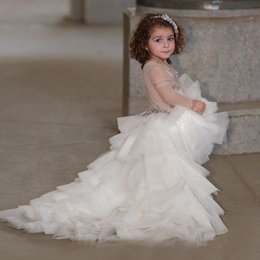 lace layered flower girl dresses 2019 - High Low Illusion Long Sleeves Girls Pageant Dresses 2019 Beading Sequins Layered Tulle Flower Girls Dress Children Love