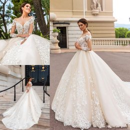 Discount simple high neckline wedding dress - 2019 Vintage Long Sleeves Champagne A Line Wedding Dresses Sheer Neckline Lace Appliques Bridal Gown Court Train BA5462