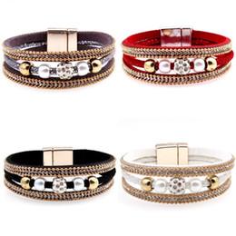 $enCountryForm.capitalKeyWord NZ - Magnetic Bracelet Bangle Crystal Beaded Leather Wristband Bracelet Multilayer Bracelets