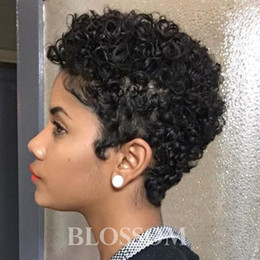 human lace fronts for cheap NZ - Cheap Human Hair Wigs Brazilian Best Hair Lace Front Wigs Small Kinky Curly None Full Lace Very Short Hair Wigs for Black Women