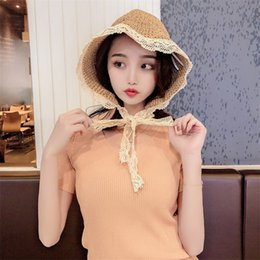 hat female beach NZ - Korea Summer Hats For Women Straw Sun Hat Lady Girls Lace Ribbon Bow Panma Beach Hat Floppy Female Travel Folding Chapeu