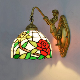 Classic Style Glasses Australia - Rose Wall Lamps European Style Creataive Stained Glass Wall Light Corridor Classic Bedroom Wall Sconce Light Fixtures