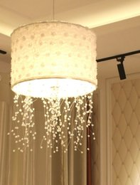 $enCountryForm.capitalKeyWord Australia - Modern Clear Crystal warm  cold   natural 36W LED Chandeliers for Dining bedroom with White Fabric Lampshade Suspension Lamp LLFA