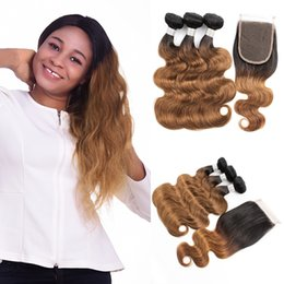bundles 18 inch ombre hair extensions 2019 - Colored Peruvian Virgin Hair T1B30 Auburn Brown Hair Extensions Body Wave Ombre Human Hair Weave 3 4 Bundles with Lace C