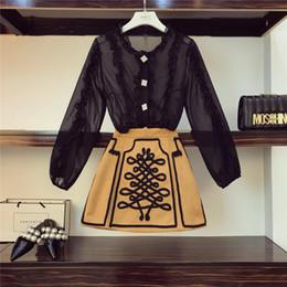 Discount girls ruffle pant suits - 2019 New Fashion Court Style Ruffles Chiffon Shirt + Floral Skirt Vintage Girls Two-piece Set Women Mini Skirts Suit Fem