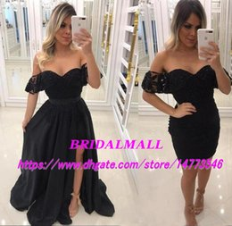 Red Cocktail Dress Detachable Train Australia - New 2019 Black Long Prom Dresses With Detachable Train Off-Shoulder Cocktail Party Dress Overskirts Beaded Lace Homecoming Dress Formal Club